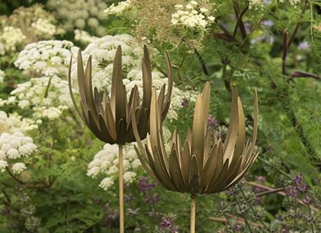 Flower stake tea light holder