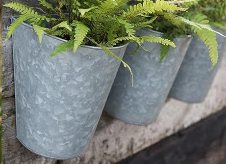 Galvanised wall planters