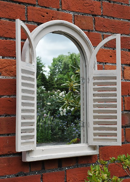 Buy Garden Wall Mirror With Shutters