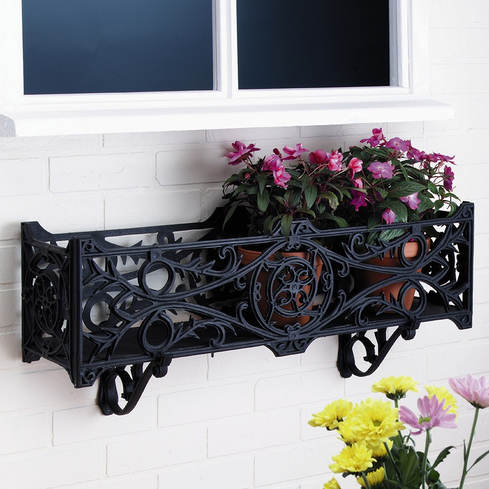 Outdoor Wooden Box Windowsill Stratford Planter Flower Balcony Trough Plant Herb