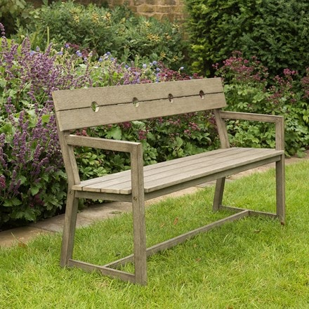 Oban garden bench with armrests