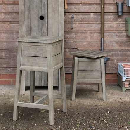 Weathered wood storage stool