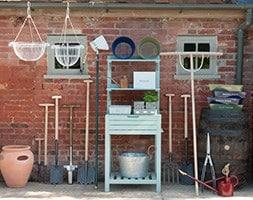 Space saving potting bench with storage - eau de nil
