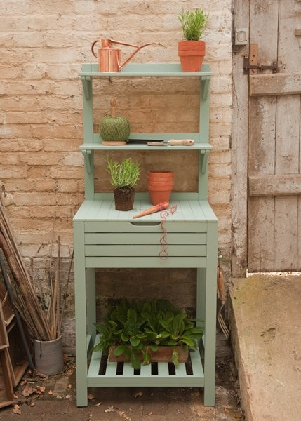 Space saving potting bench with storage - eau de nil