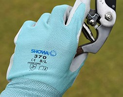 Blue nitrile gardening gloves showa floreo 370