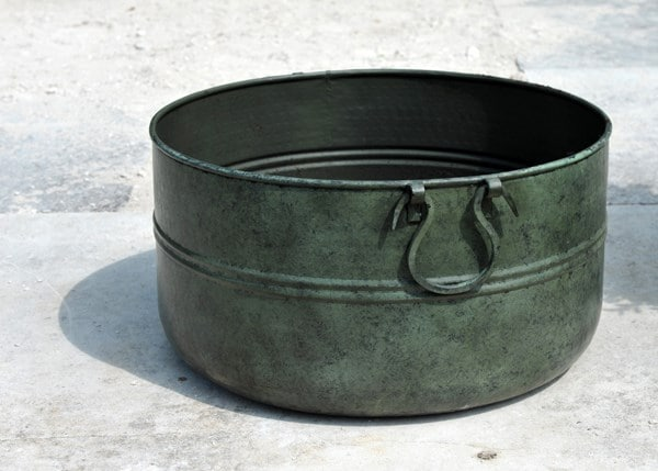 Verdigris low metal planter