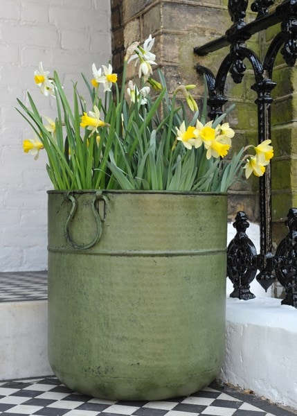 Verdigris tall metal planter