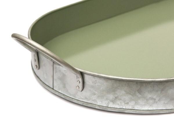 Galvanised oval tray