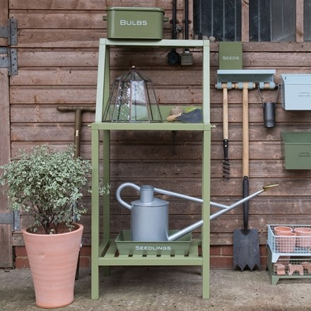 Wooden potting bench - green