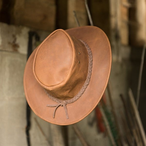 Tobacco leather hat