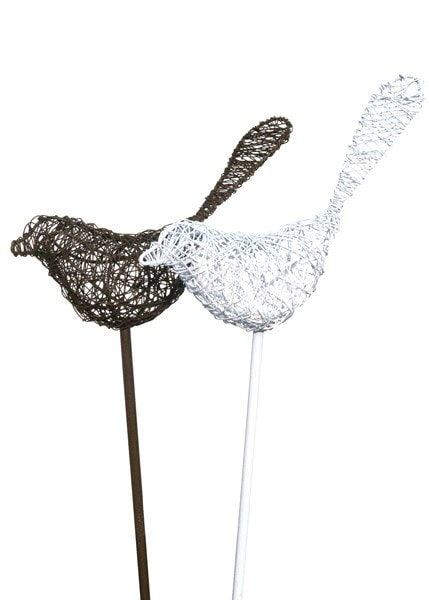 Wire bird on a stake - white