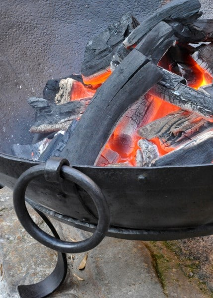 Small Indian fire pit bowl with stainless steel cooking grill