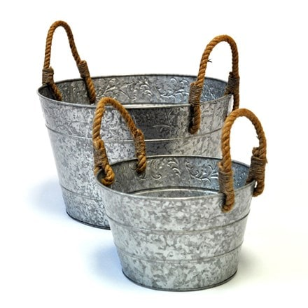 Galvanised planter with rope handles