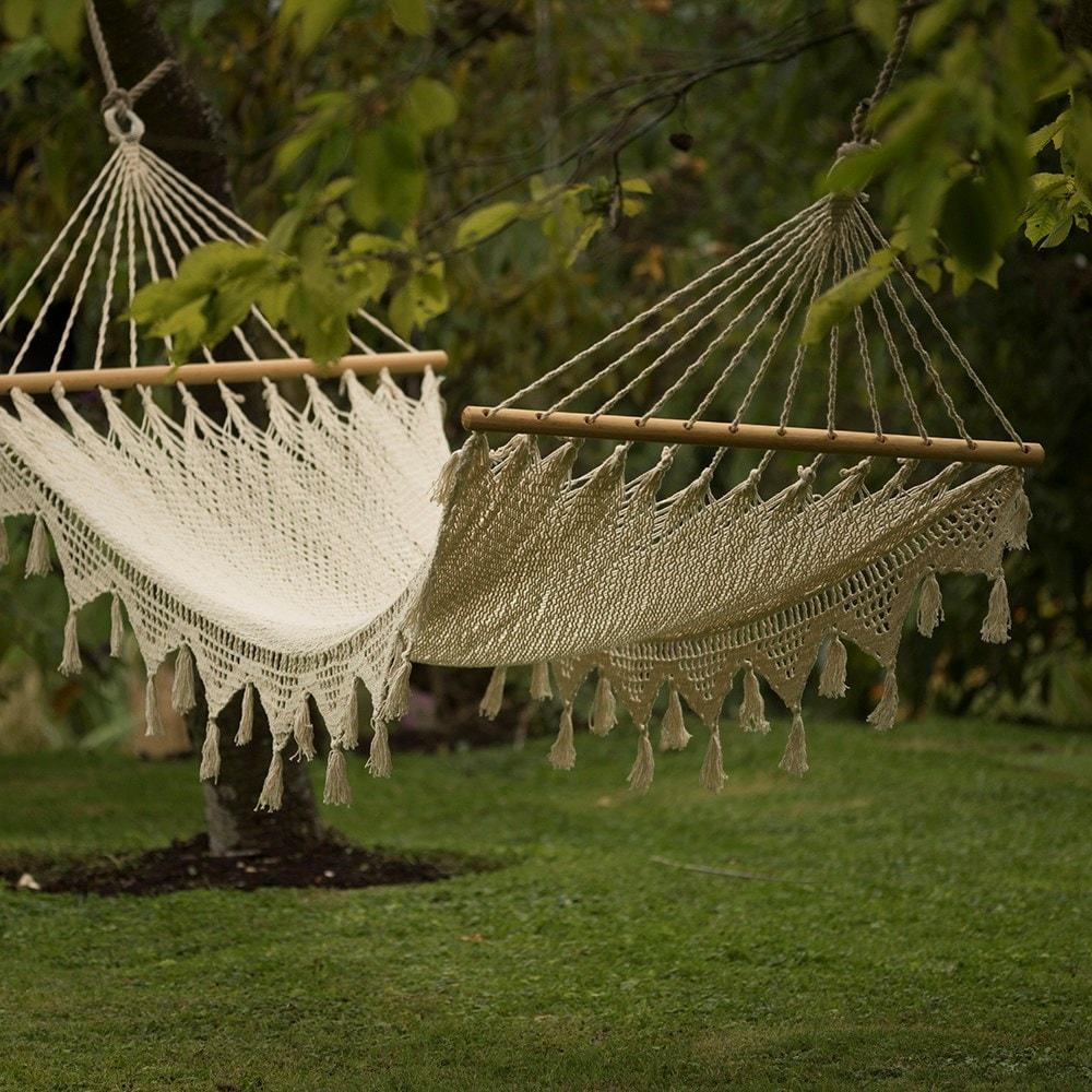 Woven string hammock