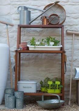 Wooden potting bench wide - natural