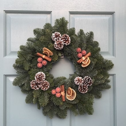 Spicy chocolate orange wreath natural fir wreath