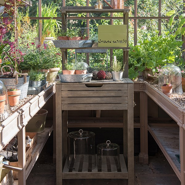 Space saving potting bench with storage - weathered