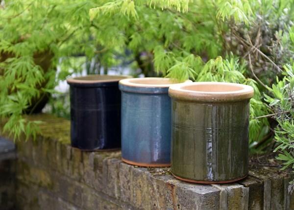 Small glazed herb pot