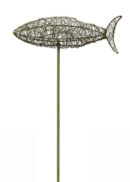 Wire fish on a stake - green