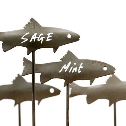 Metal fish plant markers - set of 4
