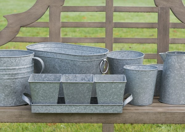 Galvanised pots in a tray