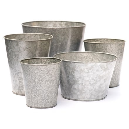 Single galvanised pot - choice of 5 sizes