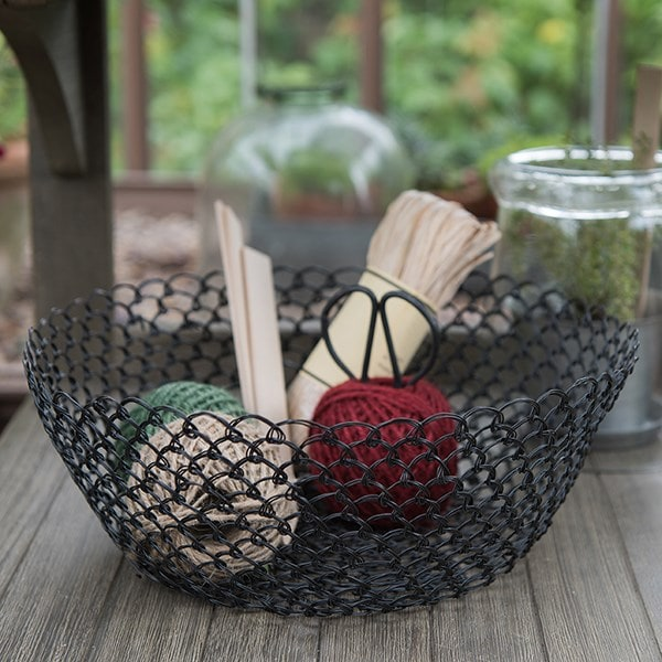 Woven wire ornamental bowl