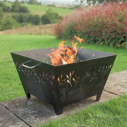Leaf motif iron fire pit