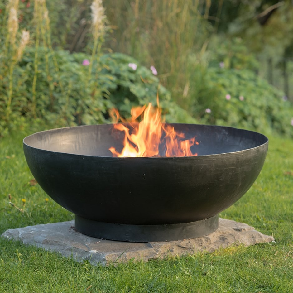 Large iron fire pit bowl