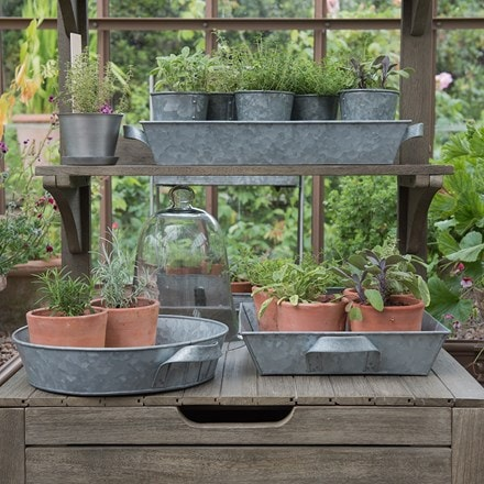 Galvanised tray with handles