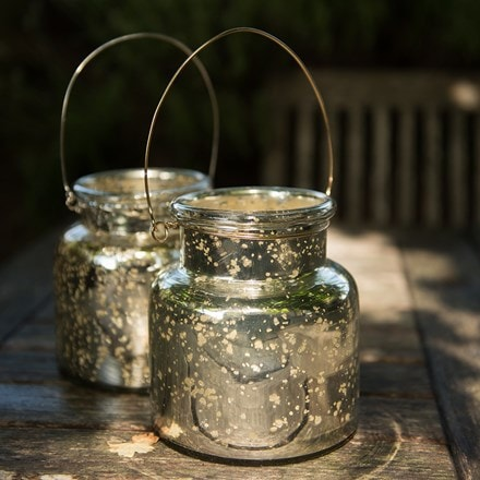 Mercury glass jar lantern