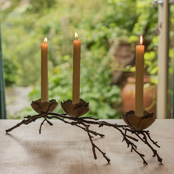 Magnolia twig taper candle holder