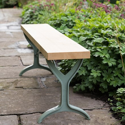 Oak beam trestle bench - lavender green