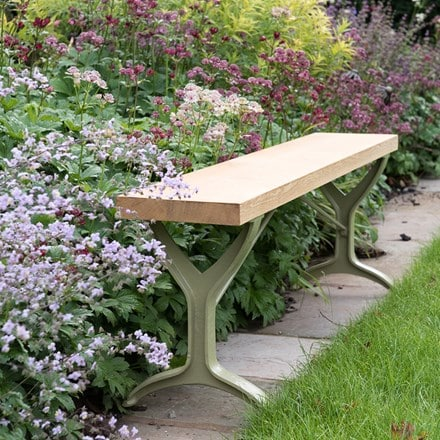 Oak beam trestle bench - leaf green