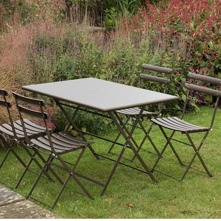 Rome folding rectangular 4 seat dining set - bronze