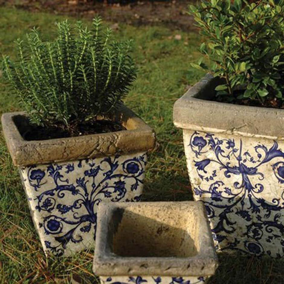 Buy Aged Ceramic Flower Pot Set Of 3 Delivery By Crocus