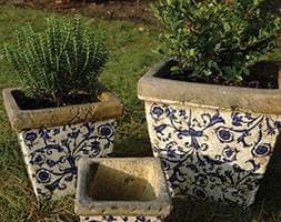 Aged ceramic flower pot - set of 3