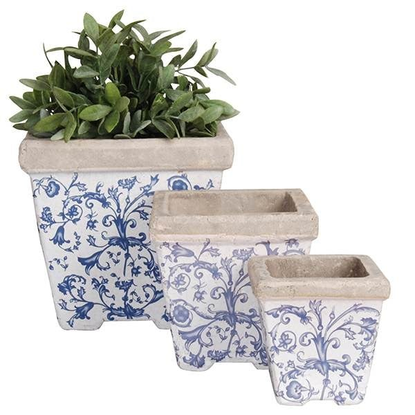 Aged ceramic flower pot - set of 3