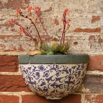 Half round aged ceramic wall planter