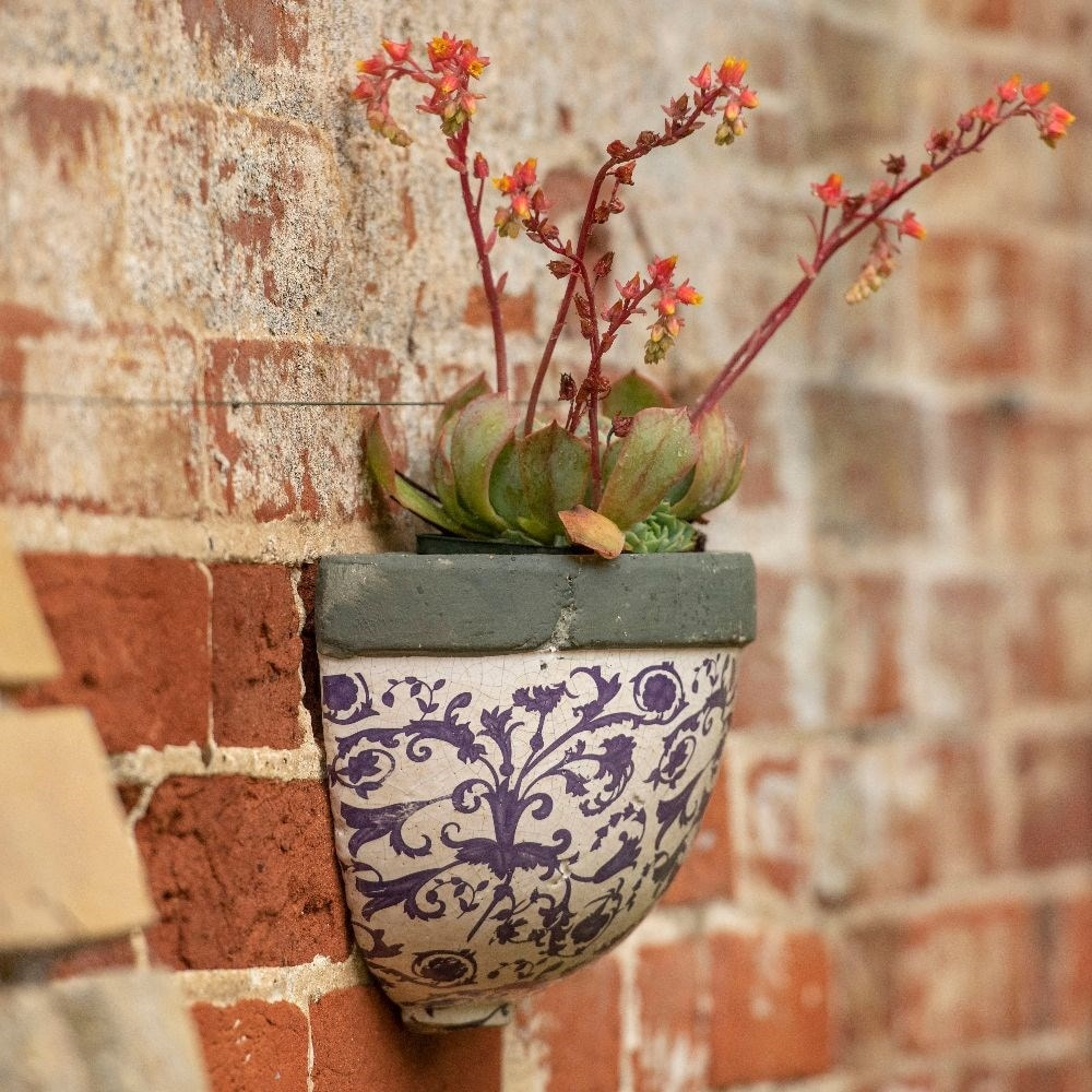 Buy Half Round Aged Ceramic Wall Planter Delivery By Crocus