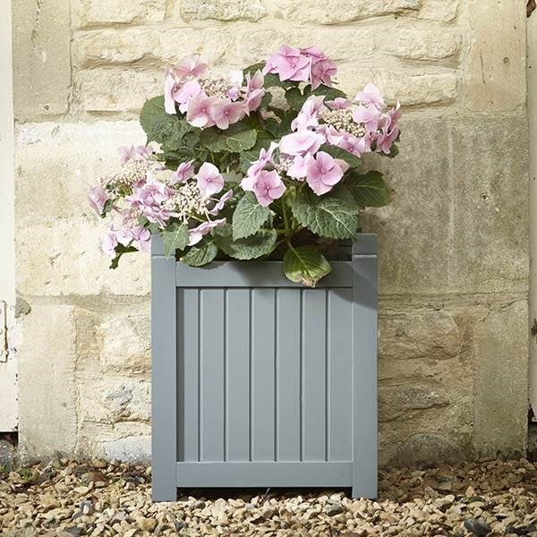 Image of Downpipe grey hardwood square planter small