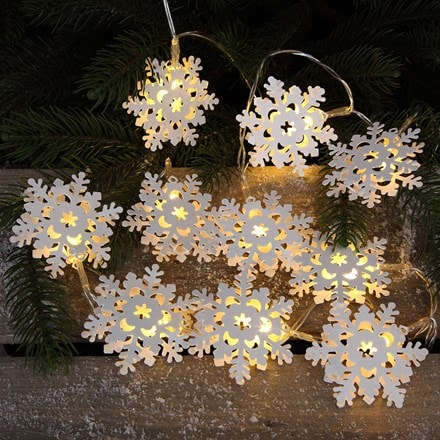 10 LED warm white metal snowflake lights