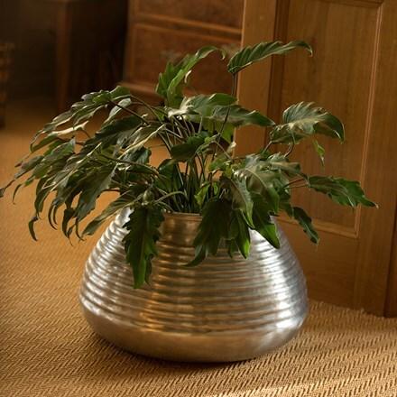 Ribbed aluminium pot