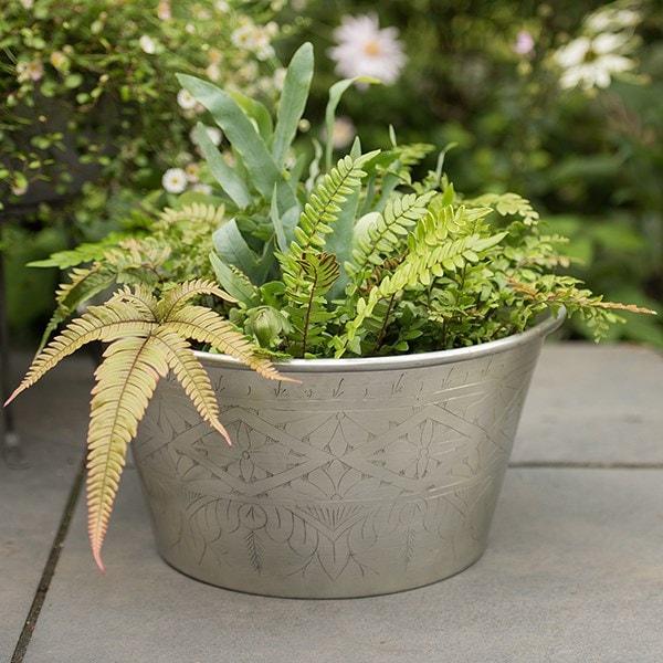 Hand etched aluminium planter