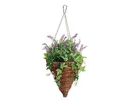 Artificial lavender and trailing ivy hanging basket