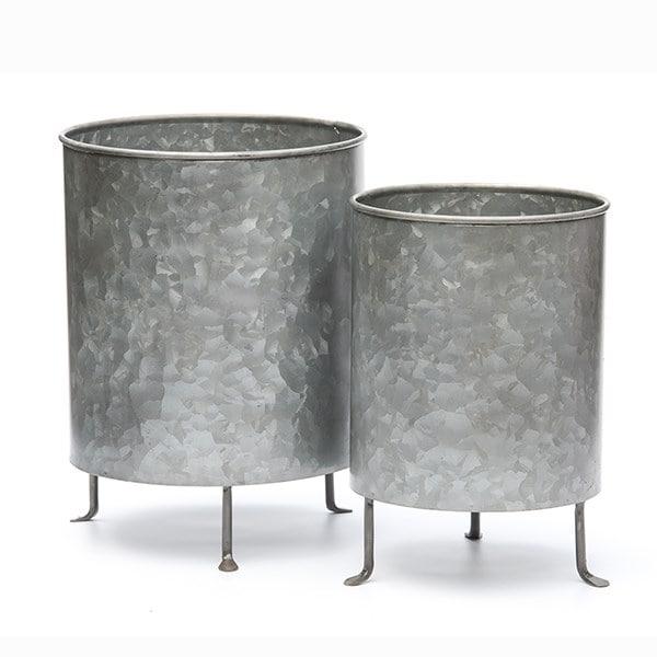 Galvanised planter on legs