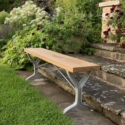 Oak beam trestle bench - grey