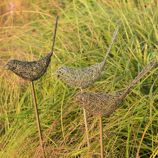 Wire bird on a stake - brass