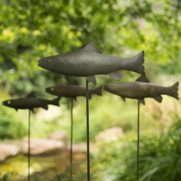 Antique pewter metal trout stake