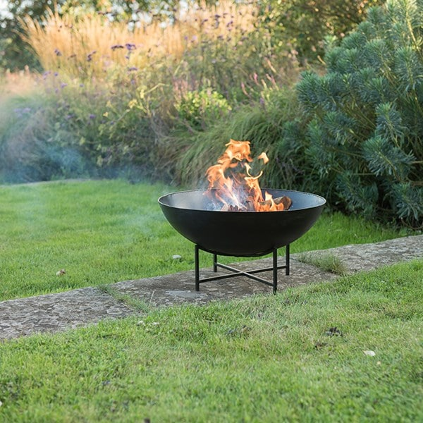 Iron fire pit bowl with cross base